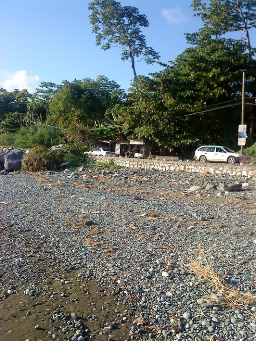 Cars travelling along a main road, bordered by the sea (St. Thomas, Jamaica).