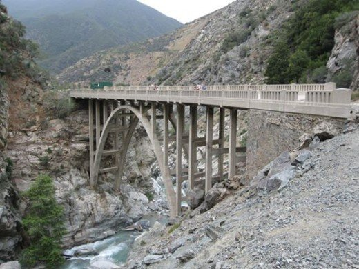 The real Bridge to Nowhere on the east fork of the San Gabriel River.
