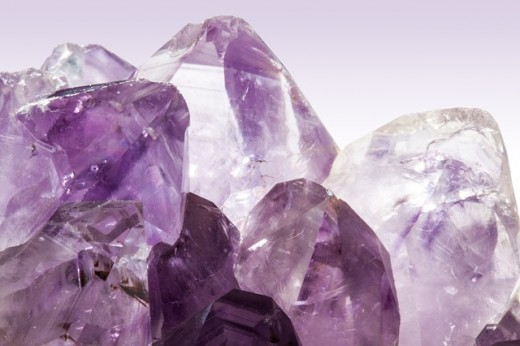 The amethyst shown here is an excellent example of vitreous luster.