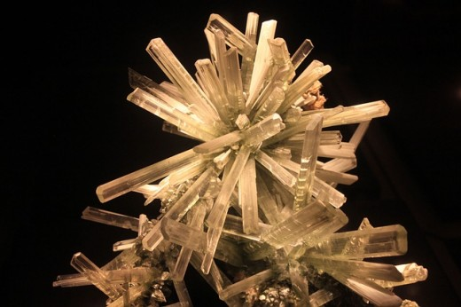 If you scratched your fingernail on one of these gypsum crystals, the crystal would have a scratch on it because your fingernail is harder.