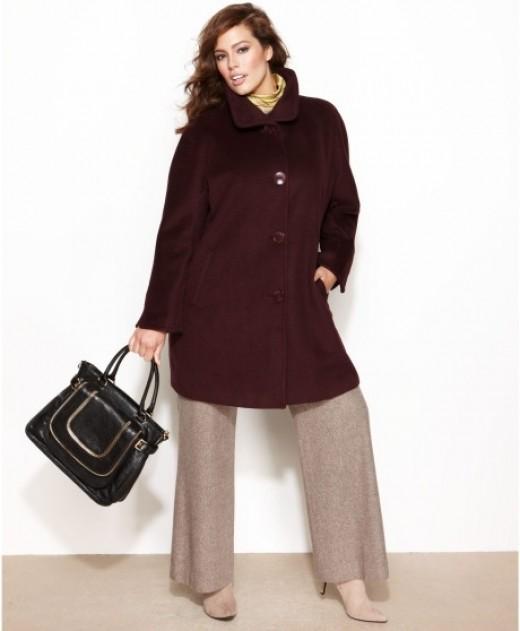 wool blend A-line walker coat
