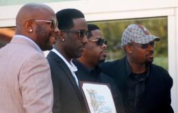 Boyz II Men receiving their star on the Walk Of Fame in 2012