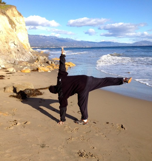 Morning Yoga on the beach in February.