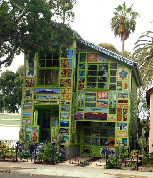 This eccentric house in downtown Santa Barbara has everything you want to know about California, embedded into the exterior with colorful tiles.