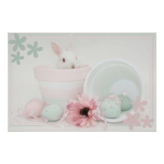 Sweet Easter bunny posters and other items available by clicking the source link.