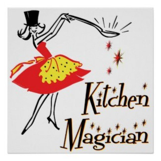 Kitchen magician retro cooking art poster and other items available by clicking the source link.