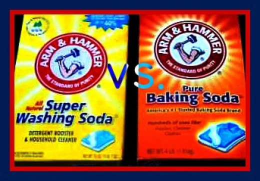 A side-by-side comparison of packaging for Washing Soda and Baking Soda.