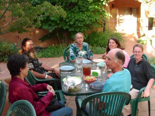 Community residents enjoy a get together on the patio - Used with permission