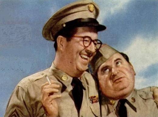 "Phil Silvers (Sgt. Bilko) and Maurice Gosfield (Pvt. Doberman), 1956. The ""lovable slob,"" may have been Bilko's most popular character. It's reported, series creator Nat Hiken took one look at the dumpy Gosfield & proclaim he was ""born for the part!"""