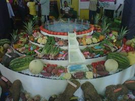 A beautiful Farmer's Market display at the Denbigh Agricultural Show, Jamaica