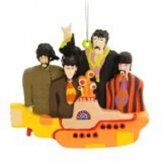 The Beatles in a Yellow Submarine Christmas Ornament