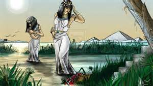 """""""When the child grew older, she took him to Pharaoh's daughter and he became her son.  She named him Moses, saying, """"I drew him out of the water."""""""