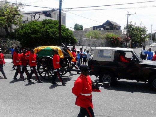 A state funeral procession, Jamaica