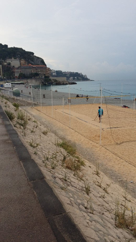 The only sand is on the volley ball court, which is well maintained
