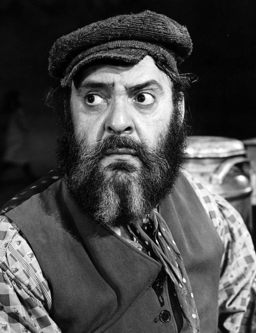 Zero Mostel as Tevye as the stage version of the Fiddler on the Roof.