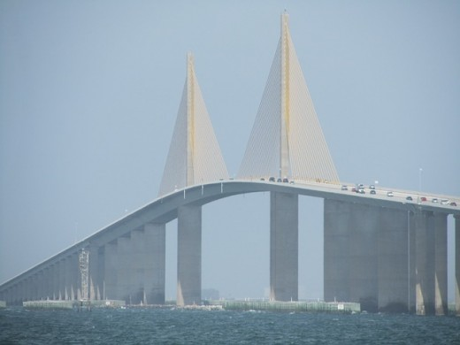 The Bob Graham Sunshine Skyway Bridge which spans Tampa Bay.  Construction of the current bridge began in 1982, and the finished structure was dedicated in 1987.  The current bridge replaces an older one constructed in 1954, which was damaged.