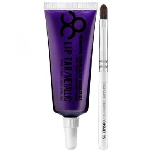 OCC Lip Tar: Technopagan. Metallic blackened purple with blue pearl.
