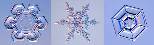 Regular six sided snowflakes