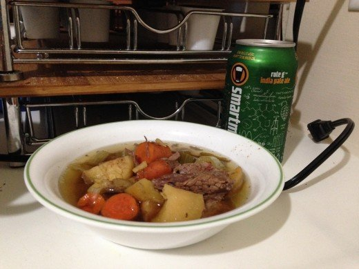 Beef stew and a beer. A great way to end a long day at work on a chilly fall day.