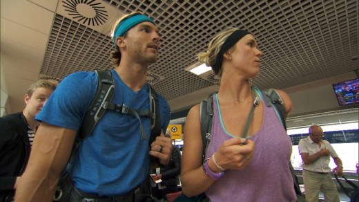 Adam & Bethany at the airport on The Amazing Race