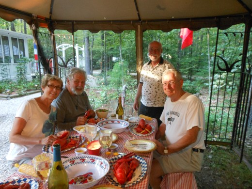 Some of the Air Force pals gather for lobster in New Hampshire.