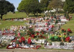 Cemetery decorations are common in the south