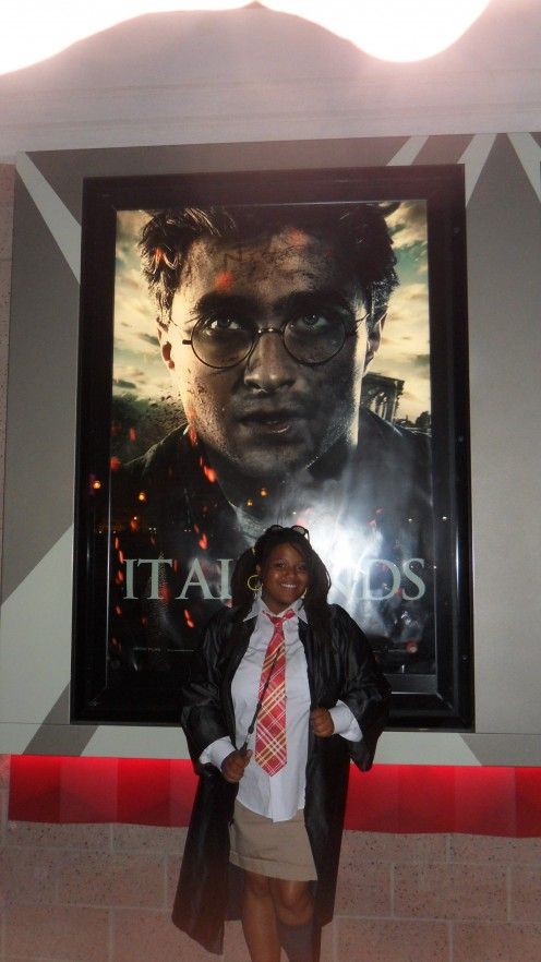 This was my DIY Hogwarts Student costume that I wore to the midnight premiere of Deathly Hallows Part 2.
