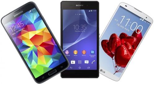 Samsung Galaxy S5 VS Sony Xperia Z2 VS LG