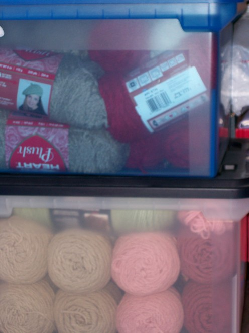 Same types of yarn stored together for use in a future project.