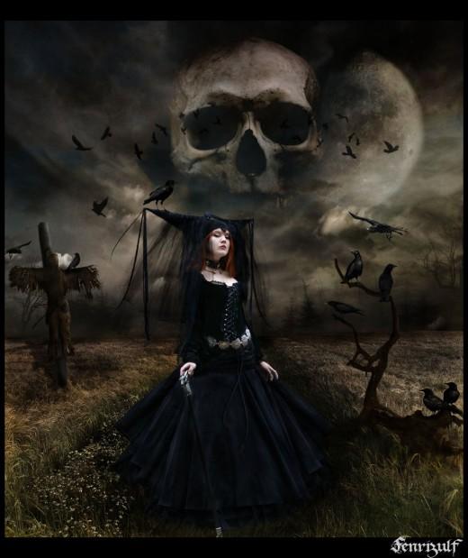 Gothic Witch & Skull