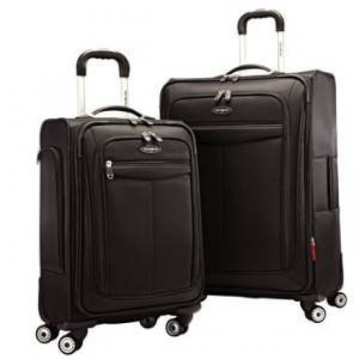 Samsonite two piece spinner luggage set: 21in. carry-on and 27in. check-in
