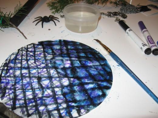Water painting coffee filter flower petal