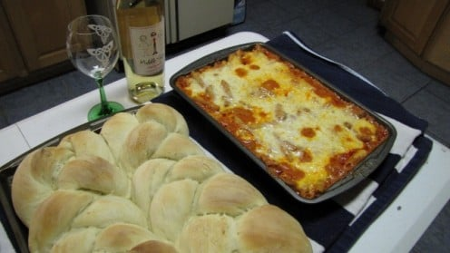 Recipe halved to make two large loaves.  The bread is bigger than the baked ziti - and oh, so delicious!