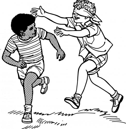Blindfolded Child Playing
