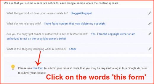 Populated Fields on Blogger/Blogspot DMCA Complaint
