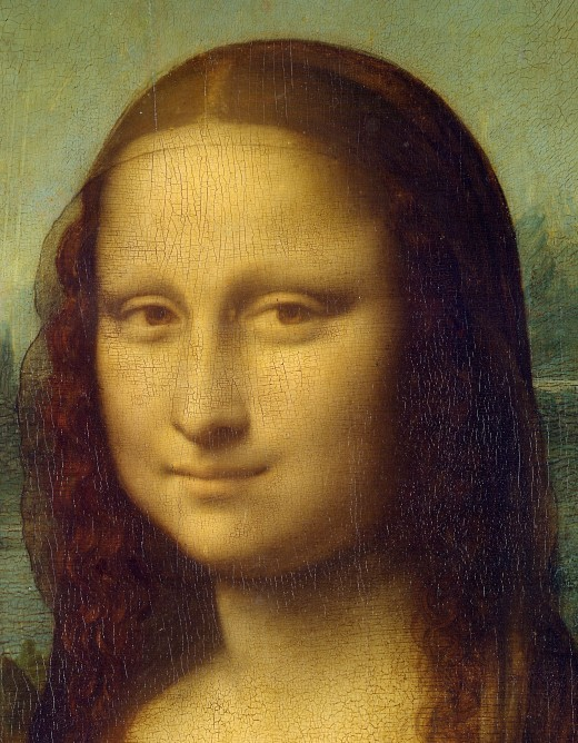 Close up of Leonardo daVinci's Mona Lisa (This caption reflects a possible search query and could show up in search engine image results.)