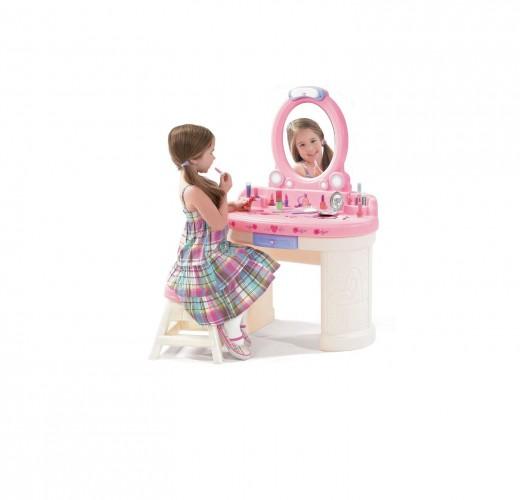 Pin Girls Pink Princess Vanity Dressing Table And Stool Kidkraft Video On Pin