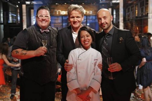 The judges with Christine after her big win!  (From left to right: Graham Elliot, Gordon Ramsay, Christine Hà, and Joe Bastianich).