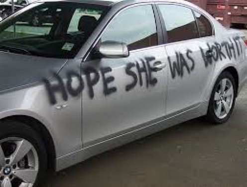 Some angry wife got even with her adulterous husband by allegedly vandalizing his car