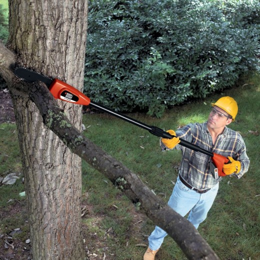 A cordless pole saw in action.