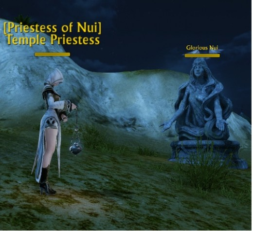 The priestess of Nui gives the daily Gilda star quest. This is also the re-spawn point when you die in Archeage.