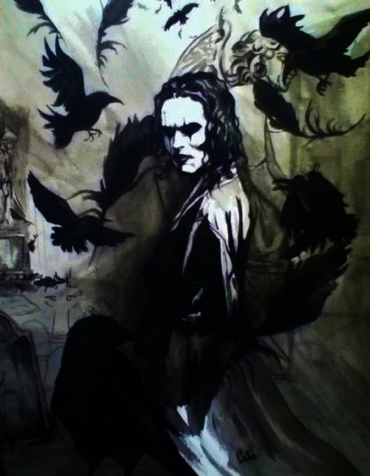 Bruce Lee's son, Brandon Lee, starred in the movie The Crow. Here is an artist's rendition of the title character of that movie.