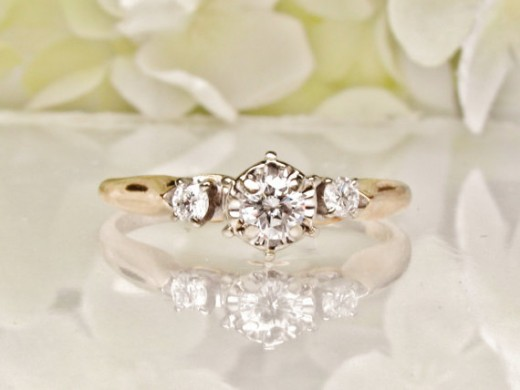 Three-stone Vintage Diamond Engagement Ring
