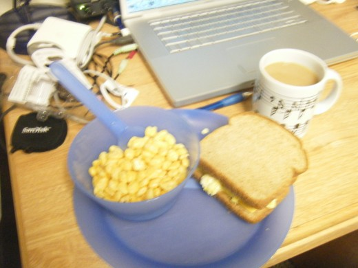 Cereal with a scrambled egg sandwich. Great for the long days when I knew I wouldn't get to eat again until dinner.