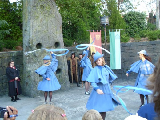 The girls of Beauxbatons performing for the crowds.