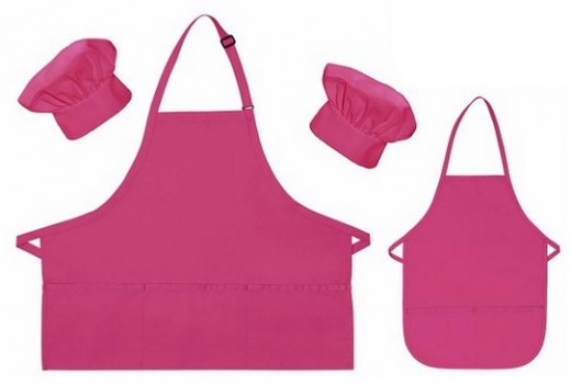 Mother Daughter Hot Pink Aprons and Chef Hats Set