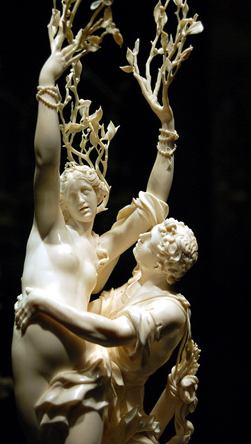 Daphne and Apollo, sculpture in ivory by Jacob Auer
