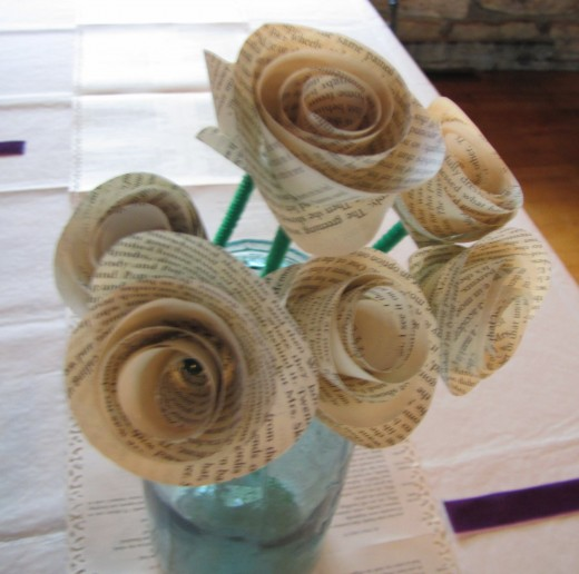 You can use wildflowers or make some paper flowers like these. Perfect for the book club refreshment table.