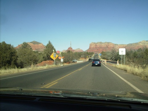 Beginning of red rock area and entrence to Oak Creek Canyon.