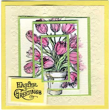 Easter Card with Stamped Tulips in a Bowl